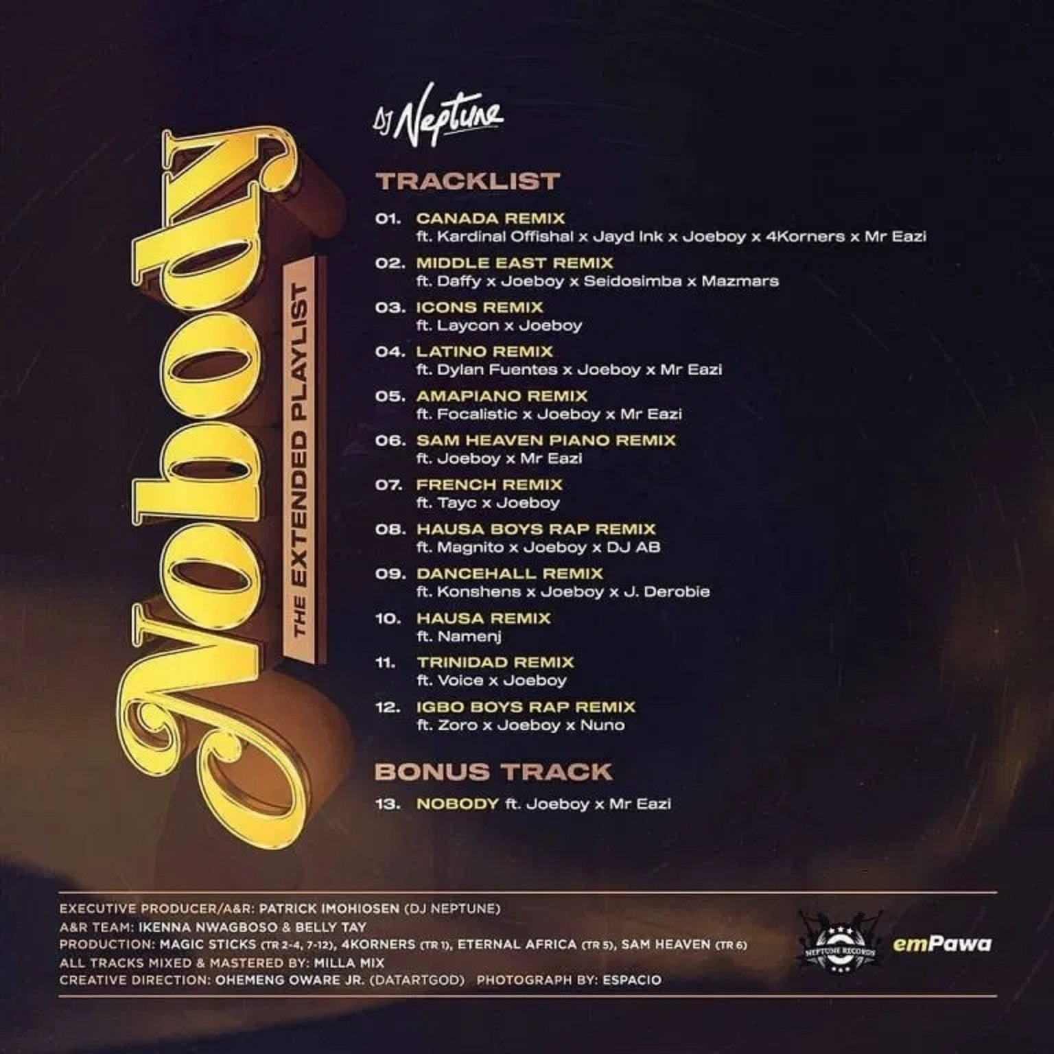 Dj Neptune Nobody The Extended Playlist Worldwide Remixes Ep Audio Albums Nobody, nobody, nobody, nobody, nobody, nobody, no don't wanna see you with nobody baddest (joe joe joe boy pon deck) dj neptune, hit me! dj neptune nobody the extended